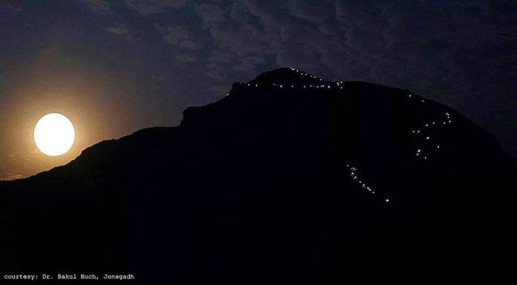 Girnar and full moon - Dr. Bakul Buch